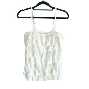 Hollister White Lace Ruffle Square Neck Tank Top M